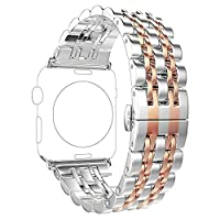 Apple Watch Band,PUGO TOP 316L Stainless Steel Band Watchband Strap Bracelet with Classic 7 Blade Design and Butterfly Clasp for Apple Watch Series 1, Series 2-(38mm,Silver+Rose)
