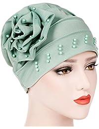 Longra Femmes Perler Chapeau Musulman Ébouriffer Cancer Bonnet écharpe Turban  Casquette Foulard de Tête Chapeau de 20b7b09ebcf