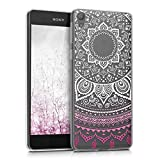 kwmobile Sony Xperia E5 Hülle - Handyhülle für Sony Xperia E5 - Handy Case in Pink Weiß Transparent