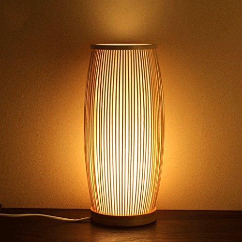 LEGELY Lámpara de mesa de bambú tejida a mano, sala de estudio sala dormitorio lámpara de té, el bambú original, E27, estilo moderno simple