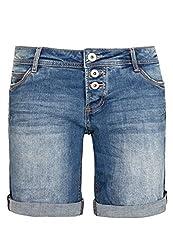 Sublevel Damen Jeans Bermuda-Shorts mit Denim Aufschlag Middle-Blue S