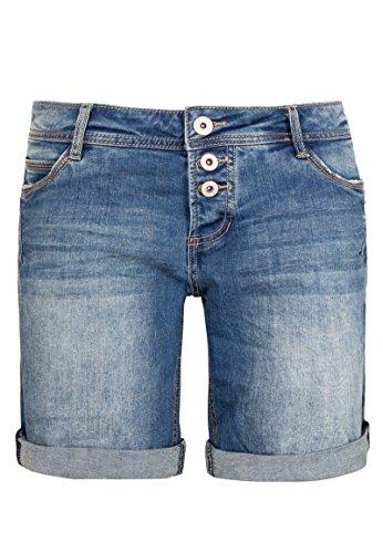 Sublevel Damen Bermuda mit Aufschlag | 5 Pocket Jeans-Shorts | Lockere Kurze Hose aus hochwertigen Denim middle-blue L