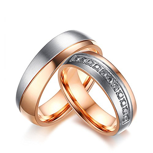 Blisfille Partnerring Paar Verlobungsring Edelstahl Herren Damen Rose Gold Gewölbt Zweifarbig Doppelt Kreis Hoch Poliert Zirkonia Gr. 57(18.1) & 60(19.1) Kostenlos ()