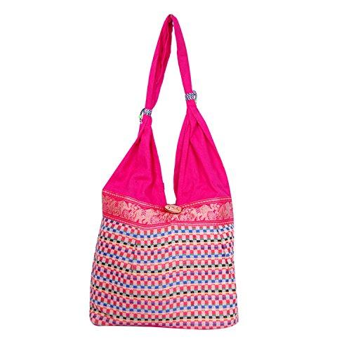 Womaniya Women's Shoulder Bag (Purple-Handicraft Jhola Bag)  available at amazon for Rs.159