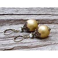 Vintage Ohrringe mit Holzperlen & Glaswachsperlen - gold, cremeweiß & bronze