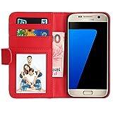 Samsung Galaxy S7 Hülle, EnGive Premium Wallet Ledertasche mit Standfunktion & Karte Halter für Samsung Galaxy S7 Hülle - Rot