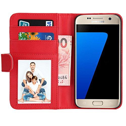 Samsung Galaxy S7 Hülle, EnGive Premium Wallet Ledertasche mit Standfunktion und Karte Halter für Samsung Galaxy S7 Hülle - Rot