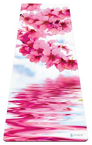 Nirvana Yoga-Matte, attraktives Design, aus hochwertigem Naturkautschuk, umweltfreundlich, rutschfest, mit integriertem Handtuch, für Bikram-Yoga geeignet, Spring Apple Blossom High Contrast Matte