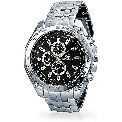 Bling Jewelry posteriore in acciaio cronografo tachimetro stile gioielli Mens lega Watch