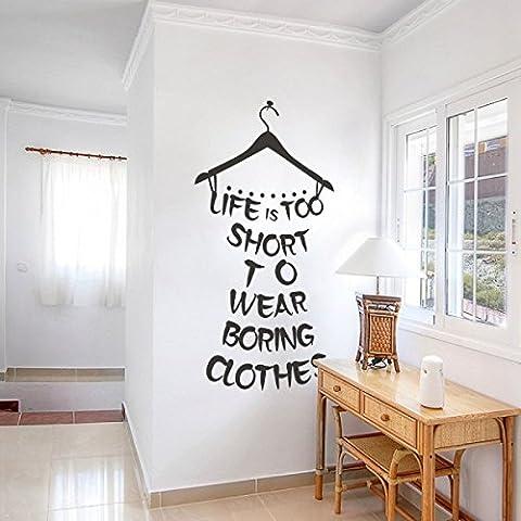 La vida es demasiado corta para llevar aburrido clothes vestidor citas adhesivo decorativo para pared las niñas dormitorio papel pintado, negro, 58