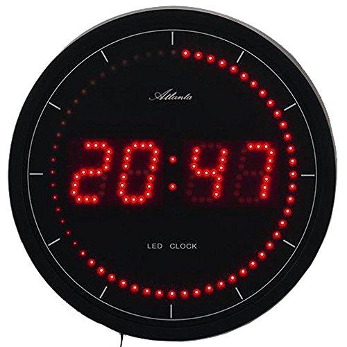 Preisvergleich Produktbild Atlanta Wanduhr mit roter LED Anzeige Digital Quarz - 4212