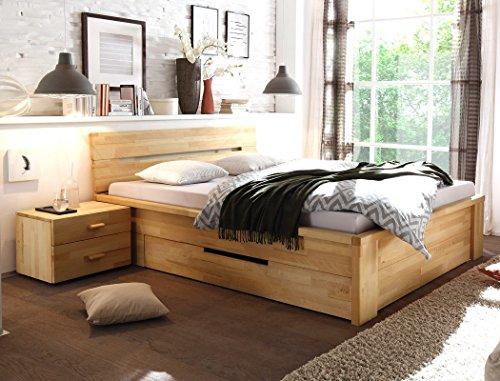Massivholzbett Caspar + Nachttisch Kernbuche Stauraumbett - viele Größen wählbar