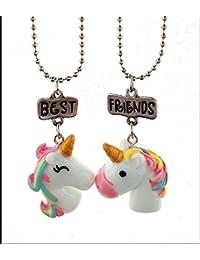 MTSZZF Unicornio Collar Niñas BFF Mejores Amigos Colorido Unicornio Collar Colgante Conjunto Regalo