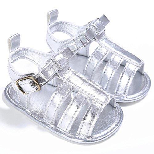 Scarpe per bambini Koly_Bambino Bambino sveglio pattini della greppia T-legato molle del prewalker morbide suola antiscivolo Velcro Scarpe Sandali Silver