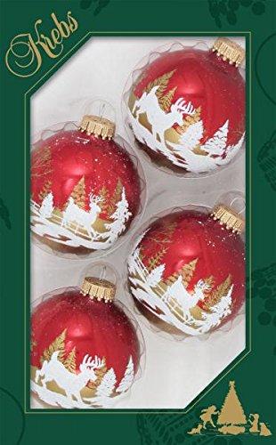 7cm Kugel weihnachtsrot mit winterlicher Rentier Szene