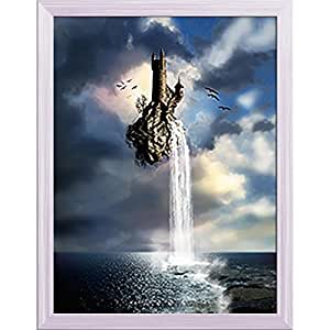 AZ Fantastic Castle With Waterfall Canvas Painting White Wood Frame 16 x 20.6inch