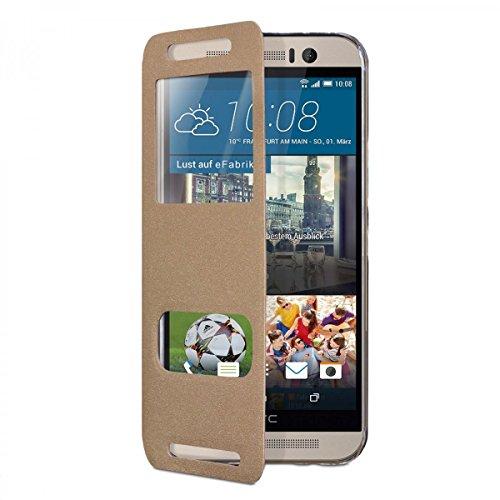 eFabrik Case für HTC OneM9 und HTC One M9 Prime Camera Edition Window Cover Hülle mit Aufsteller Fenster (Kein S-View) Smartphone Tasche Case aus Kunstleder in goldfarben