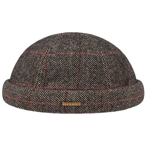 Stetson Bonnet Docker Herringbone Wool Homme - Made in The EU pour l'hiver en Laine avec Revers, Bonnets Docker, Doublure, Fermeture Fermeture Scratch
