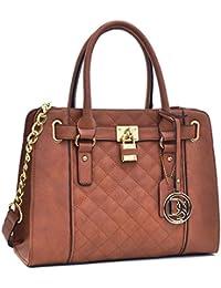 Top Handle Satchel Handbag Zip Purse Belted Padlock Vegan Bag W/ Chain Shoulder Strap & Bonus Wallet Brown By...