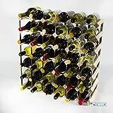 Madera de pino 42 botella clásico y metal autoensamblaje estante del vino galvanizado