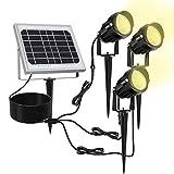 Lampe Solaire Exterieur Spot solaire exterieur MEIKEE à piquer ou mural Etanche IP66 3000K blanc chaud 450LM, lumiere exterieur solaire idéal pour Jardin, Chemin, Terrasse, Arbustes, Massifs Lot de 3