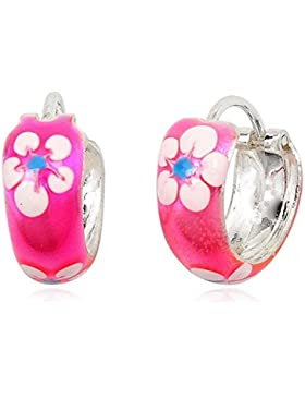 JAYARE Kinder-Creolen Blume Blüte 925 Sterling Silber Emaille 12 x 5 mm rosa pink Ohrringe
