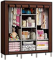 House of Wax Portable Wardrobe Rack Cabinet Collapsible Clothes Storage Rack Dark Brown Colour