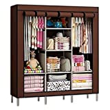 #10: House of Wax Portable Wardrobe Rack Cabinet Collapsible Clothes Storage Rack Dark Brown Colour