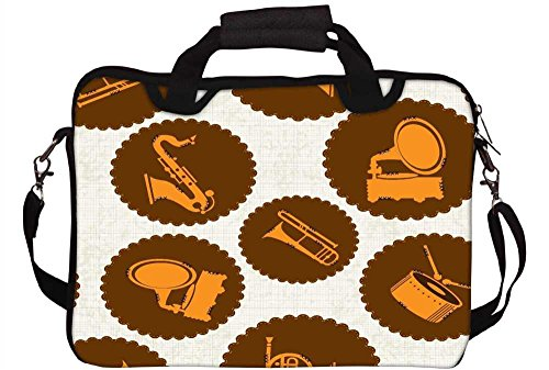 Snoogg Musik Aufkleber Laptop Netbook Computer Tablet PC Schulter Case mit Sleeve Tasche Halter für Apple iPad/HP TouchPad Mini 210/Acer Aspire One und die meisten 24,6cm 25,4cm 25,7cm 25,9cm Zoll Netbook Tablet PC (Laptop-aufkleber Für Hp)