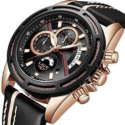 LIGE Relojes Hombre,Hombre De Lujo Cronógrafo Impermeable Militar Deportes Cuarzo Relojes,Cuero Negro Ocio Dial Grande