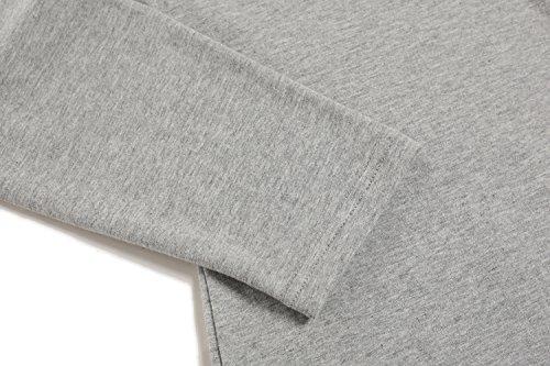CRAVOG Pullover Herren Sweatshirt T-Shirt Bluse Sweater Langarm Männer V-Ausschnitt Button Pocket Slim Fit Tops Oberteile Grau