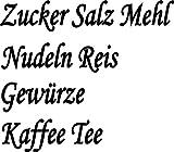 Küchenset 8x Schwarze Aufkleber Beschriftung für Vorratsdosen, Vorratsglas, Frischhalteboxen aus Plastik, Glas oder Metall (Text Zucker, Salz, Mehl, Nudeln, Reis, Gewürze, Kaffee, Tee) konturgeschnitten aus Folie, wasserfest und selbstklebend
