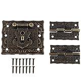 1pc Retro Antik Design Möbel Schrank Dekorative Jewelry Box Verriegelung schließbändern Schloss und 2Scharniere mit Schrauben Bronze Farbe
