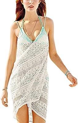 Pareo para Mujer Túnica Beach Bikini Swimwear Cover-Up Vestido de Playa Corto Encaje