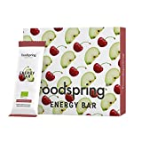 foodspring Barretta Energetica pacchetto da 12, Mela-Amarena, 12x35g, La tua caffeina da masticare, Qualità bio al 100%