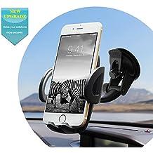 QUNTIS Soporte Móvil Coche Universal, con Ventosa, Rotable 360º para Salpicadero y Parabrisas, con Gel Fuerte, Compatible con iPhone 7 Plus 6 Plus 5S 5C 5, Samsung Galaxy S7 S6 Edge S5 S4 S3 Note 5 4 3, GPS, Google Nexus 6p 6 5x 5, LG G4, Xperia, HTC, Moto, etc. (Negro)
