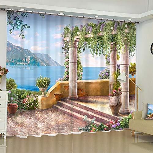 Dengxiansheng Schöne Garten 3D Landschaft Stoff Vorhänge Blackout Für Wohnzimmer Schlafzimmer Küche Kurze Vorhänge Balkon Französisch Windows-H240Xw220Cm (Für Blackout-schatten Windows)
