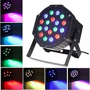 Par Lights, SOLMORE DMX-512 RGB 18 LED Party Lights DJ Disco Lights Sound Activated Stage Lighting for Wedding KTV Show Club Bar Karaoke 18W