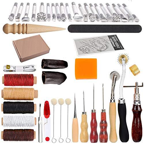 HOSTK 33 stück DIY Leder Handwerk Hand Kit Werkzeuge Set zum Nähen Nähen Stanzen Carving Sattel Leder Kunstwerk Zubehör Ahle Fingerhut (Von Nähen Hand-werkzeug)