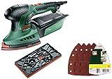 Bosch Schleifmaschine PSM 200 AES (200 Watt, im Koffer) + Bosch 25tlg. Schleifblatt Set (Holz, Füller, Spachtel, Farbe, Lack, Zubehör für Multifunktionswerkzeuge)