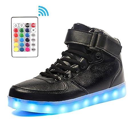 Voovix Baskets Montants Enfant LED Lumières Multicolores avec télécommande-Chaussures USB