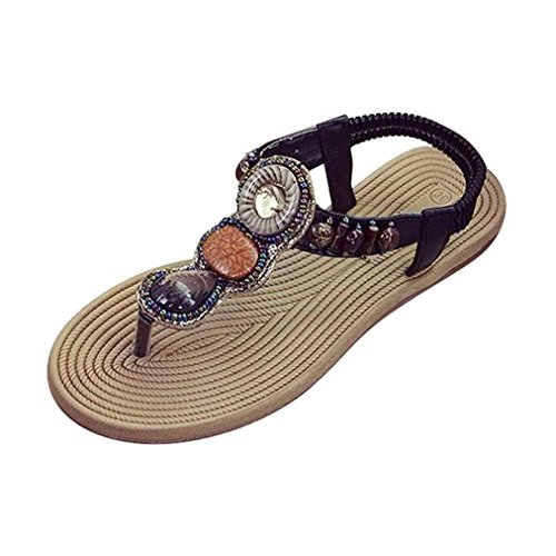 3fd5eb20f5bd Vovotrade böhmischen Frauen Edelstein Hausschuhe Sommer-Strand-Sandalen  Flip-Flops Flache Schuhe Schwarz