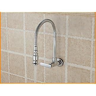 WINZSC Piscina de fregona, lavadero, pileta, fregadero de la cocina, frigorífico, lavabo, grifo, todo cobre, tubo universal, grifo empotrado en la pared