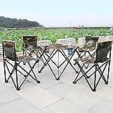 XNNSH Outdoor Tragbarer Klapptisch Und Stuhl Set Oxford Tuch Klappstuhl Camping Tisch Kombination Draussen Picknick Angeln Stark Und Haltbar Campingtisch Und Stuhl 5-Teiliges Set
