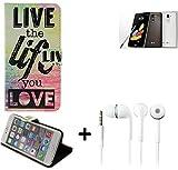 K-S-Trade® Für -LG Stylus 2 DAB+- Schutz Hülle 360° Wallet Case ''live Life Love'' Schutzhülle Handy Hülle Handyhülle Cover Tasche Etui Inkl. Ohrstöpsel (1 STK)