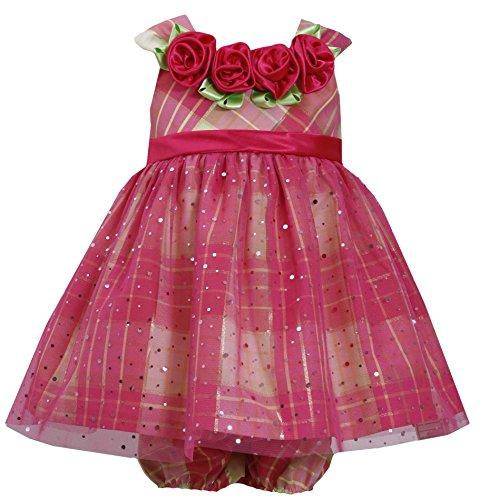 Bonnie Jean Mädchen Multi Layer Rose Trim Tartan & Mesh Kleid 12–18–24Monate Gr. Einheitsgröße , fuchsia Bonnie Jean Kleid 14