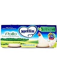 Mellin Alimento per l'Infanzia, Omogenizzato con Carne di Pollo e Farina di Riso - 2 Vasetti da 80 gr