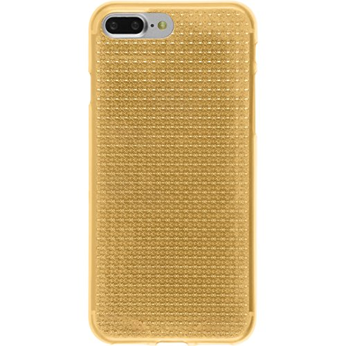 PhoneNatic Case für Apple iPhone 7 Plus Hülle Silikon clear Iced Cover iPhone 7 Plus Tasche + 2 Schutzfolien Gold