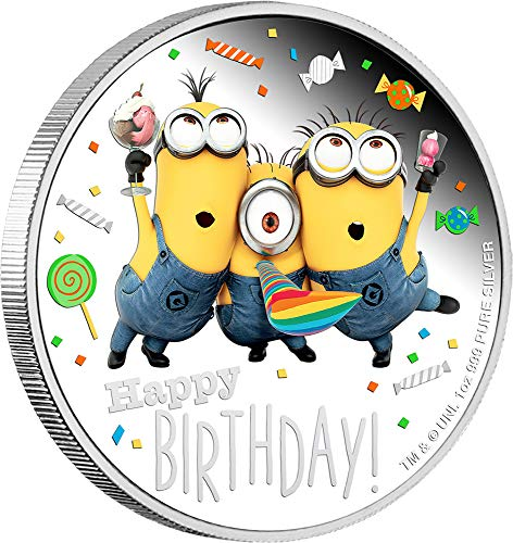 Power Coin Happy Birthday Geburtstag Minion Made 1 Oz Silber Münze 2$ Niue 2019