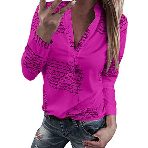 Bluse Damen Herbst Shirt Knopf Fünfzackigen Stern Hot Drill Tops Oberteil Langarm 3/4 Ärmel O-Ausschnitt Sweatshirt Langarmshirt Lose Hemd Tunika - Seide Wrap-t-shirt Top
